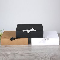Wholesale Paper Crafts Boxes - 31*25.5*8cm Large White Kraft Paper Gift Box Large Size For T-shirt Scarf For Birthday Wedding Favor Wholesale ZA4216