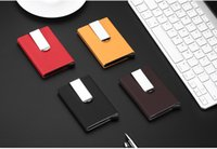 Wholesale Wholesale Plain Purses - Aluminium Card Holder Rfid Wallet Aluminum Purse Rfid Card Holder With PU Holster Metal Card Box 3 Colors