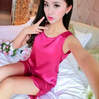 Wholesale Wholesale Women Pants China - 2017 Summer China Satin Silk Women Pijamas Sets of Shirt & Pants Female Leisure Outwear Lady Nightwear Home Clothing Size 2XL