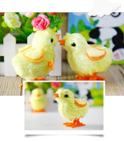 Wholesale Toy Clockwork Chicks - Clockwork toys on the chain clockwork chick chicken chicks plush toys cute baby and young children's plush toys simulation