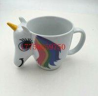 Wholesale Magical Mugs - DHL SEND Unicorn Mug 3D New Ceramic Coffee Cup Children Girl Boy Cute Creative Color Changing Mugs Sensitive Magical cups cosplay Gift