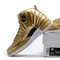 Wholesale Leather Boots For Sale - New arrive air retro 12 XII Pinnacle Metallic Gold Basketball Shoes Men retro 12s Athletic Sport Sneakers boots size 41-47 onlie for sale