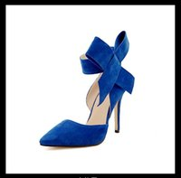 Discount blue lady dress bowknot - wholesaler free shipping factory price hot seller new-model bowknot frosted high-heel shoes office lady shoes bride sexy shoe