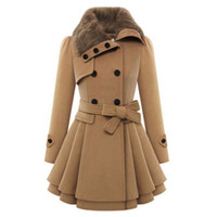 Wholesale Double Breasted Rabbit Coat - Women Winter Fur Collar Coat Slim Bodycon Rabbit Faux Fur Collar Warm Jackets Elegant Female Clothes