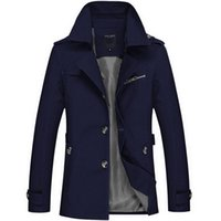 Wholesale Trench Fashion Men - Wholesale- New Arrival Fashion Style Men Large Size Jackets Good Quality Solid Male Tops Trench Coat Five Colors Slim Looking Full Sleeve
