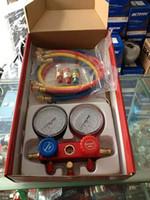 Wholesale Gauge Sets - car AC A C Manifold Gauge Set Hose Air Conditioner Refrige R134a R12 R22, AC Diagnostic Manifold Gauge Tool Set