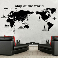 Wholesale Map Decorations - map world Map Of The World Wall Stickers Home Decoration Black Adesivo De Parede PVC Removable vinilos paredes Home Decor Wallpaper