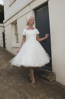 Wholesale Sleeves For Wedding Dresses - Short Modest Wedding Dresses With Sleeves Vintage Tea Length Lace Wedding Gowns Short Reception Dress For Wedding 1950s Informal Bride Dress