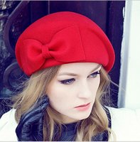 Wholesale Retro Color Hats - Elegant Winter Hat Female Retro British England Bow Bounty Hat Stewardess Hat Pure Wool High Quality