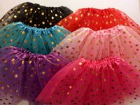 Wholesale Kids Ballet Dresses Sale - 2017 New Sale Gold Polka Dot kid girl's tutus skirt dance dresses soft ballet skirt children pettiskirt clothes