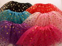 polka dot tutu robe jupe achat en gros de-2017 tutus de jupe de fille de vente d'or à pois fille robes de danse jupe de ballet doux enfants pettiskirt vêtements
