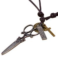 Wholesale Punk Scissors - Wholesale-Vintage Punk Scissors Necklace & Pendant Brown Genuine Leather Necklace Fashion For Men Women Steampunk Jewelry 2016