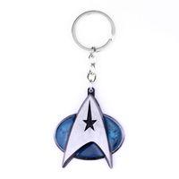 Wholesale Metal Logos Plate - Hot selling wholesale Film Star Trek Duplex Logo Silver 6cm Metal Keychain Keyring
