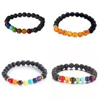 Wholesale Mixed Shape Charms - New fashion natural stone Round Shape Beads Lava Stone chakra healing Beaded Bracelets Jewelry Gift free shipping mixed