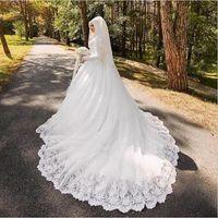 túnica mariage musulmán al por mayor-Vestido de novia árabe musulmán con mangas largas de lujo de Trail largo Mujer Aplique Hijab vestidos de novia Robe De Mariage
