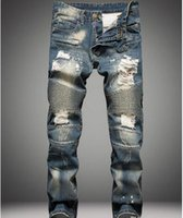 Men organic m - Famous Distressed patches Biker Cargo Jeans stretch Demin jeans Hiphop Cropped Pants with Extreme Men ripped Straight Tight Plus size