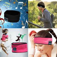 Wholesale Noise Absorption - Wireless Bluetooth Sports Headband Earphones Sweat Absorption Cap music Hats Music Sleepband Sleep Headphones with MIC for iphone 8 7s plus