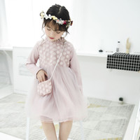 Wholesale Wholesale Princess Bags - Everweekend Girls Flower Tutu Lace Dress with Cross Bags Princess Autumn Winter Party Dress Candy Pink Green Purple Color Dress