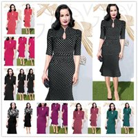 Wholesale red chiffon irregular dress - 2017 New Women's Elegant Irregular Colorblock Patchwork Contrast Check Tunic Wear to Work Office Party Bodycon Fitted Dress Size S-2XL