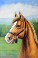 Wholesale Horse Portrait Oil Painting - Framed Chestnut Horse Portrait With Blaze In Halter,Genuine Handpainted Animal Equine Art oil Painting Canvas Museum Quality Multi size J042