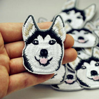 Wholesale Wholesale Bikers Accessories - Embroidered Iron On Patch Siberian Husky Head Biker Rocker Patch Clothes Bag Pant Shirt Patch Sewing On Applique