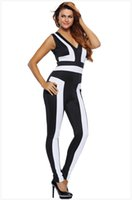 Wholesale Color Block Jumpsuit - Black White Color-Block V Neck Sleeveless Catsuit LC64186 Rompers Jumpsuit women Casual macacao feminino new 2016 women