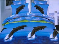 Wholesale Dolphin Bedspreads - 3D Dolphin Bedding sets Blue Sea quilt duvet cover set bed in a bag sheets linen bedspread bedset Queen size Full double 4PCS