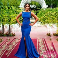 Barato Contas Quadradas Azuis-Graceful Royal Blue Mermaid Formal Evening Dresses Square Collar Beads Sequined Front Slit Trumpet Women's Party Gowns