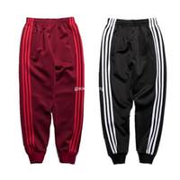 Wholesale Cotton Polyester Pants Men - 2017 New fashion Kanye West Pants Men Women Loose Hip Hop Oversized Striped Pant Joggers Cotton Justin Bieber Pants 2017 New Fashion