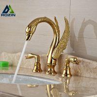 Wholesale Copper Chrome Finish - Wholesale- Soild Copper Gold Finish Bathroom Faucet Luxury Golden Swan Shape Basin Tap Dual Handle Deck Mount