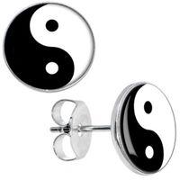 Wholesale Yin Yang Plugs - Wholesale Studs Earring 50pcs lot Surgical Steel Chinese Yin Yang Logo Ear Stud Earrings Cheater Plugs Fashion Jewelry 10mm*1.2mm ZCST-033