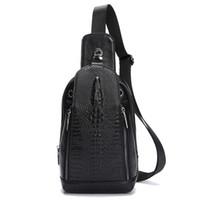 Wholesale Large Black Envelopes - 2017 new leather shoulder bag casual bag of 100% genuine leather crocodile fashion single shoulder bag, large capacity sports bag