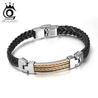 Wholesale Men Fashion Jewel - ORSA JEWELS 2017 New Fashion Men Leather Bracelet Personality Retro Titanium Steel Male Bracelets OTB16