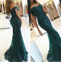 Discount full size party dresses - Dark Green Mermaid Evening Dresses 2017 New Full Lace Off the Shoulder Ruffles Tulle Skirt with Beads Charming Prom Party Gowns