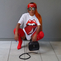 Wholesale Cheap Tongue - New Cheap Summer T-shirt Red Big Tongue Plus Size Women's Tops O Neck Loose Ladies T-shirt