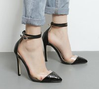 Wholesale Shoes Woman Pumps - sexy transparent patchwork ankle strappy pointed toe high heel pump shoes Women fashion high heels sandals designer shoes size 34 to 40