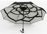 Wholesale led lighted gift bags - NEW! with LED lighting luxury Classic logo black Camellia inside Umbrella 3 Fold Luxury Umbrella with box and bag VIP gift