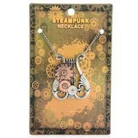 collier 56cm achat en gros de-Nouvelle Mode Steampunk Déclaration Collier Lien Câble Chaîne Antique Bronze Piano avec Horloge Pendentifs 56cm Style Punk pour Unisexe
