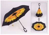 Wholesale Creative Inverted Umbrellas Double Layer With C Handle Inside Out Reverse Windproof Umbrella colors NEW