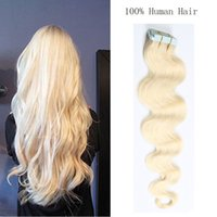 Wholesale Taped Wefts Hair Extensions - 16~24inch Straight Adhesive PU Skin Wefts Tape In Human Hair Extensions PU Tape Hair 20pcs set Multi Colors Freeshipping