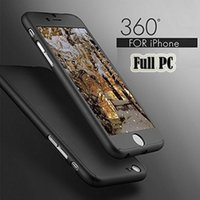 Wholesale Iphone New Hybrid Slim - New Slim Coverage 360 Degree Case For iPhone 5 5S SE 6s Iphone 7 plus Hard PC Plating Cover Luxury Hybrid Armor Case + Tempered Glass Film