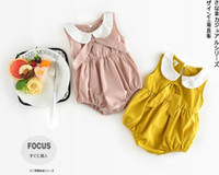 Wholesale INS new arrivals summer baby kids climbing romper sleeveless pet pan collar solid color romper girl kids romper kids summer rompers T