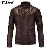 Wholesale purple leather bomber jacket - Wholesale- T-bird Jacket Men Winter 2017 Coat Male Bomber Jacket Men PU Leather Brand Outwear Mens Cotton Jackets Clothing XXL KSKXM