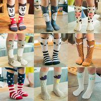 Wholesale Baby Chevron Leggings - 28 Design Baby Girls cat fox socks stockings children cartoon bear knee high leggings baby chevron leg warmers cotton socks