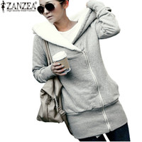Plus Größe Wintervlies Kaufen -Großhandel- ZANZEA Womens Hoodies Overcoat Winter Warm Fleece Mantel Zip Up Oberbekleidung Hooded Sweatshirts Lange Jacke Parka Plus Size