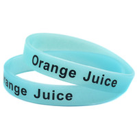Wholesale Design Custom Silicone Wristbands - Wholesale 100PCS Lot Cheap Bracelet Beverage Name Silicone Wristband, Glow In Dark, Adult Size, Custom Design Are Welcome