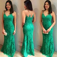 Wholesale water drop jewels - Elegant Dark Green Lace Mermaid Dress Evening Wear 2018 Sheer Sleeveless Long Floor Length Evening Prom Gowns