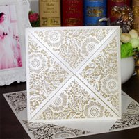 Wholesale Christmas Laser Cut Greeting Cards - Elegant Laser Cut Hollow Flora Flower Wedding Invitations Greeting Cards Birthday Party Invite Paper Craft CW520