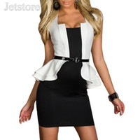 Wholesale Sexy Career Clothing - Wholesale- Fashion Women Sexy Peplum Work Spring Autumn Dress Womens clothing Bodycon Cap-sleeves Career Work Dresses With Belt 8 8967