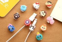 Wholesale Earphone Cable Line - Cartoon USB Cable Earphone Protector Headphones Line Saver For Mobile Phones Tablets Charging Cable Data Cord OPP Bag Package